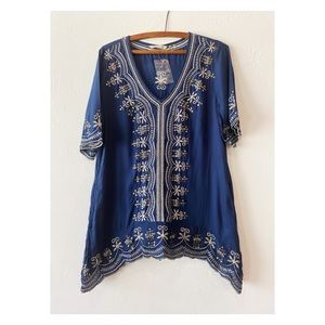 Soft Surroundings tunic blouse embroidered